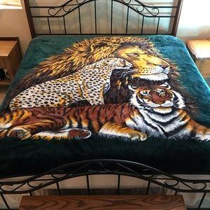 Lion Cheetah Tiger Fleece Blanket Double Sided